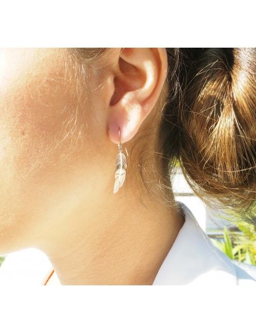 Steel feather earrings - Zag Bijoux