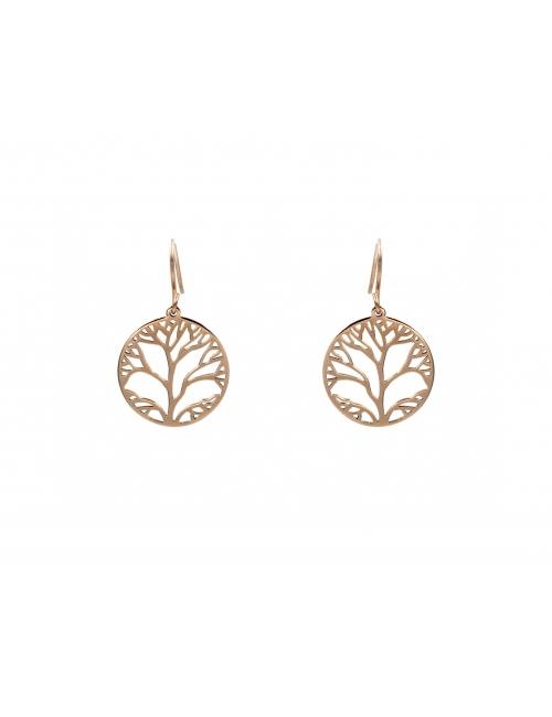 Pink steel tree life earrings - Zag Bijoux