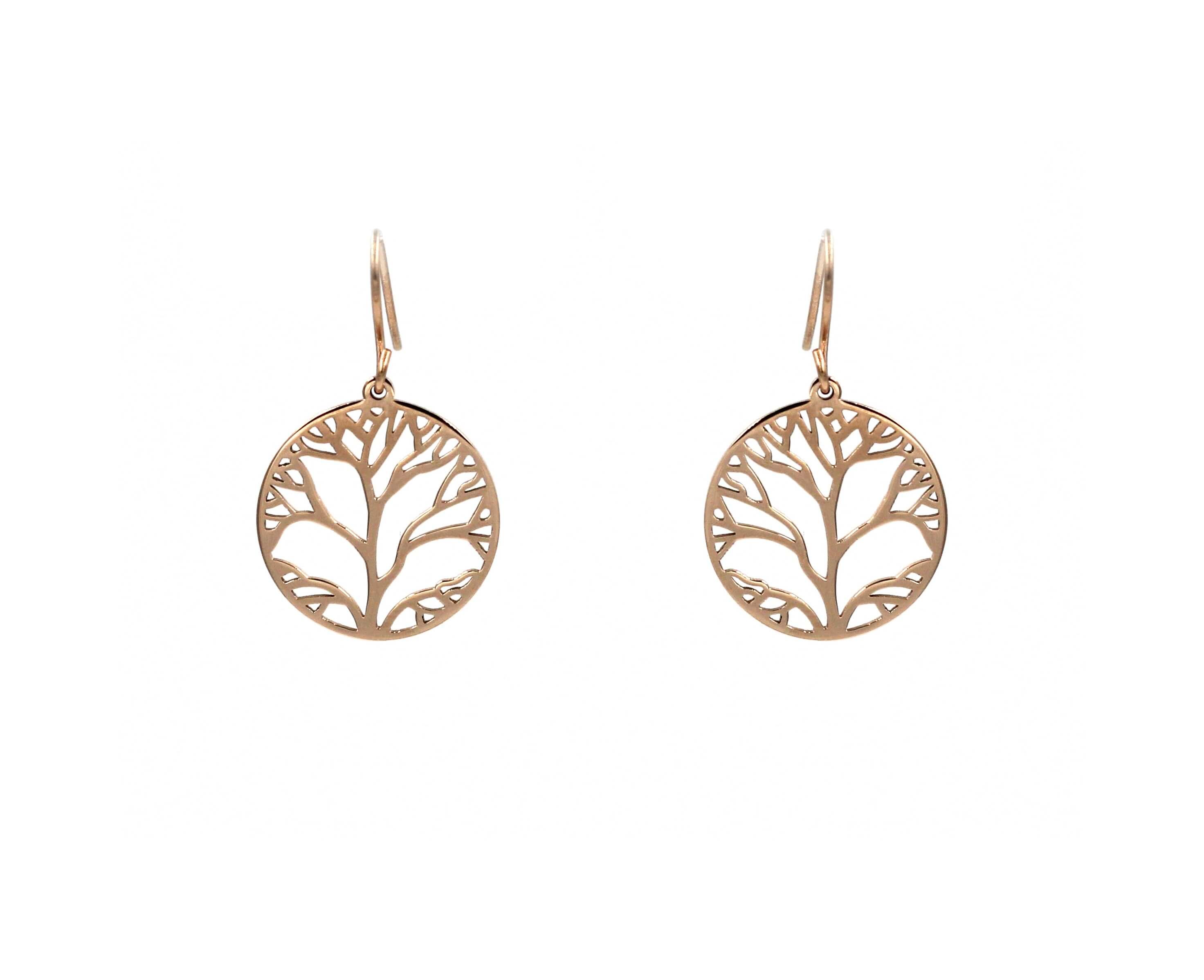 Boucles d'oreilles arbre de vie en acier rose - Zag Bijoux