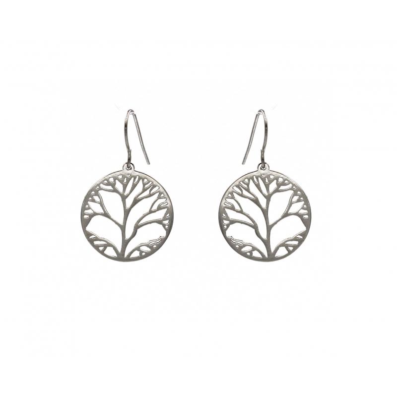 Steel tree life earrings -...