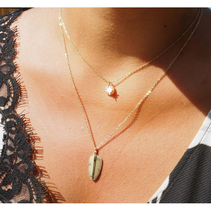 Plume tattoo gold necklace...
