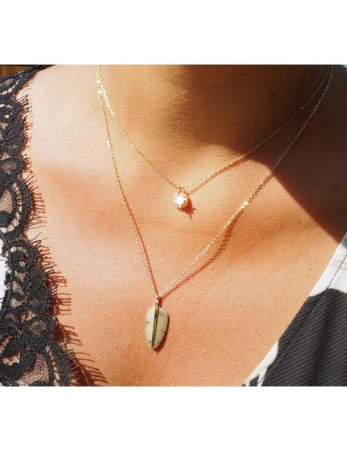 Plume tattoo gold necklace - Zag Bijoux