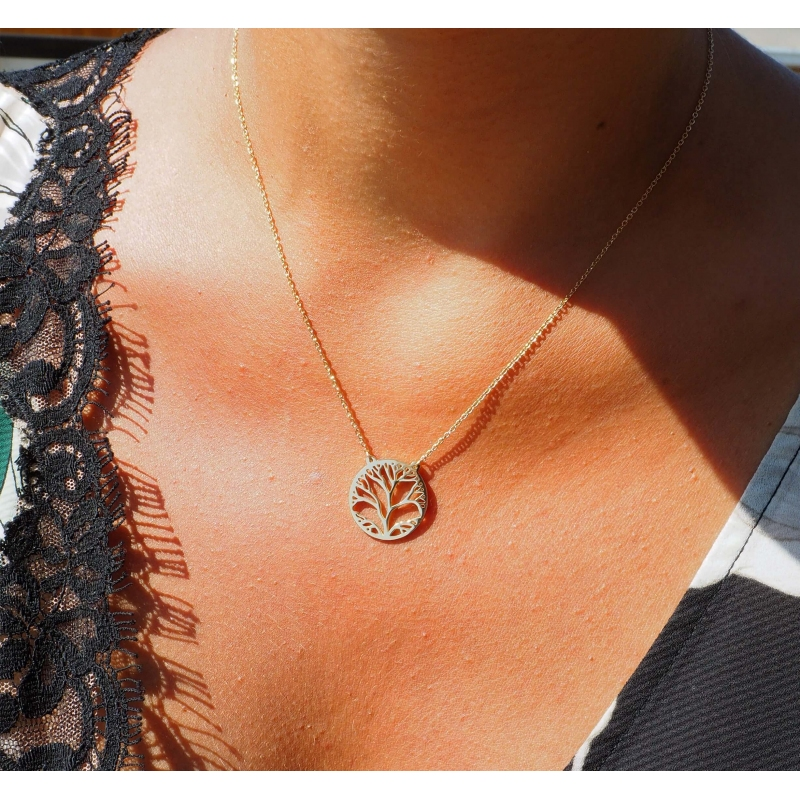 Collier arbre de vie en acier rose - Zag Bijoux