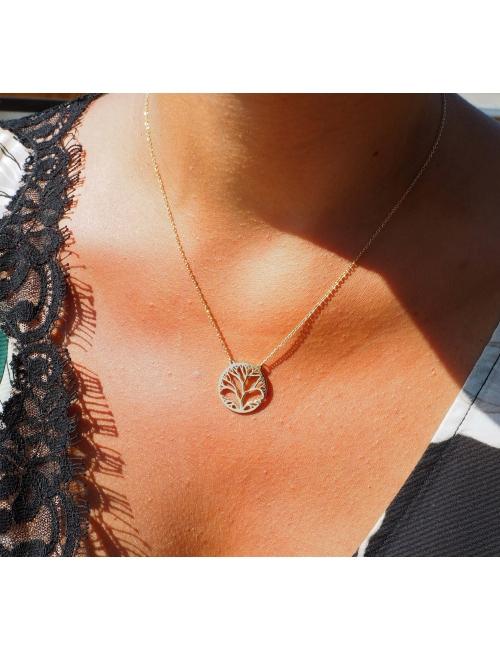 Collier arbre de vie acier or rose - Zag Bijoux
