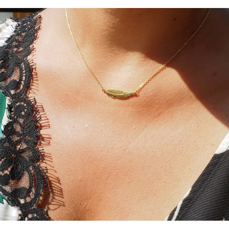 Feather silver necklace -...
