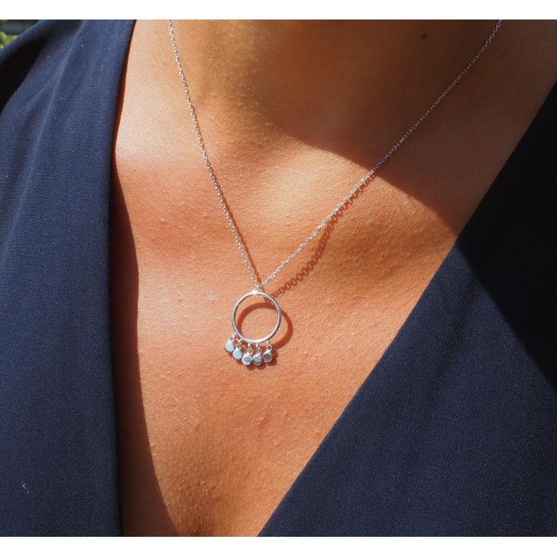 Circle pastilles silver necklace - Pomme Cannelle