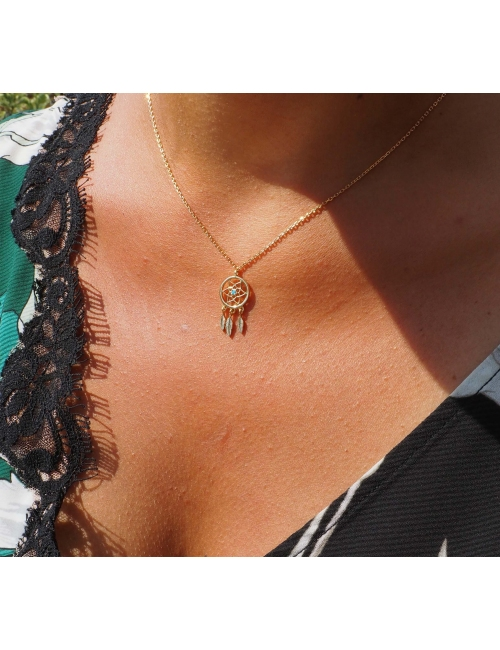 Dreamcatcher turquoise gold necklace - Pomme Cannelle