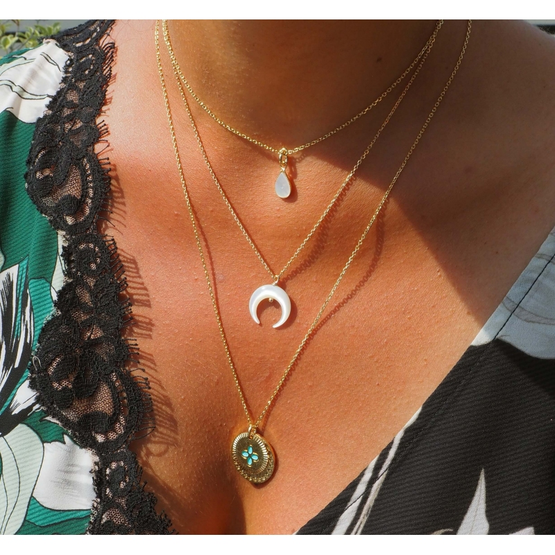 Moon pearly gold necklace - Pomme Cannelle