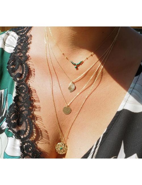 Leaf pastille gold necklace - Pomme Cannelle