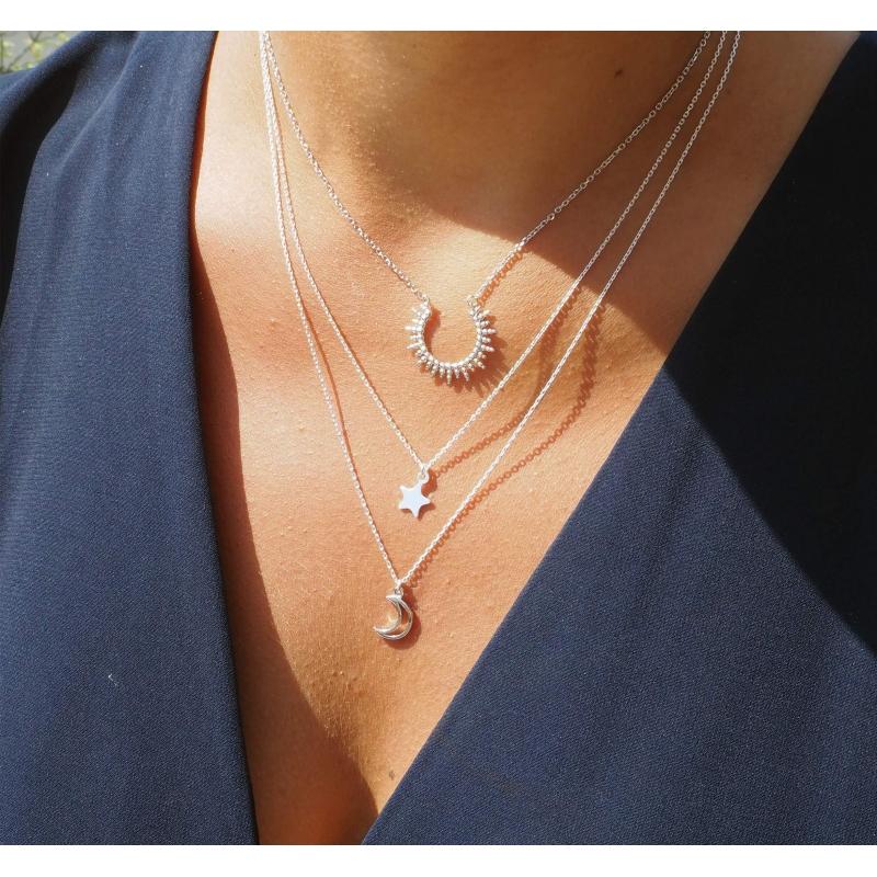 Sun silver necklace - Pomme Cannelle