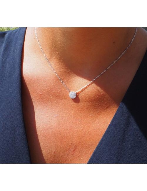 Shiny black silver necklace - Pomme Cannelle