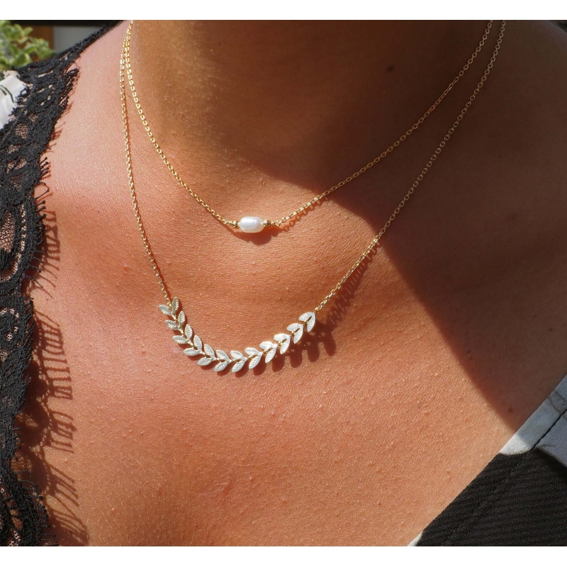 Ears of wheat gold necklace - Pomme Cannelle