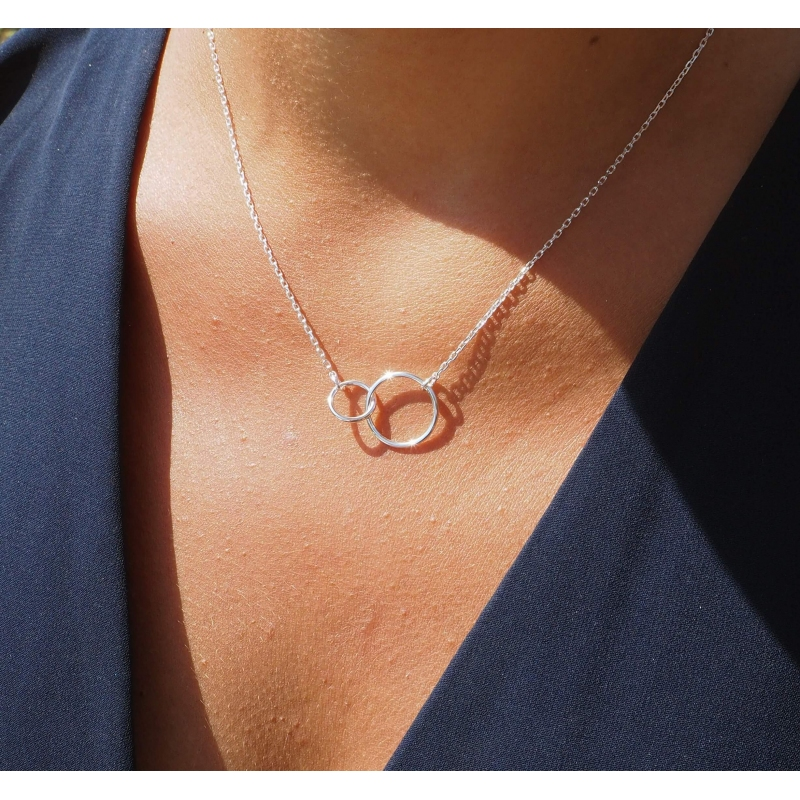 Doucle circle medium silver necklace - Pomme Cannelle