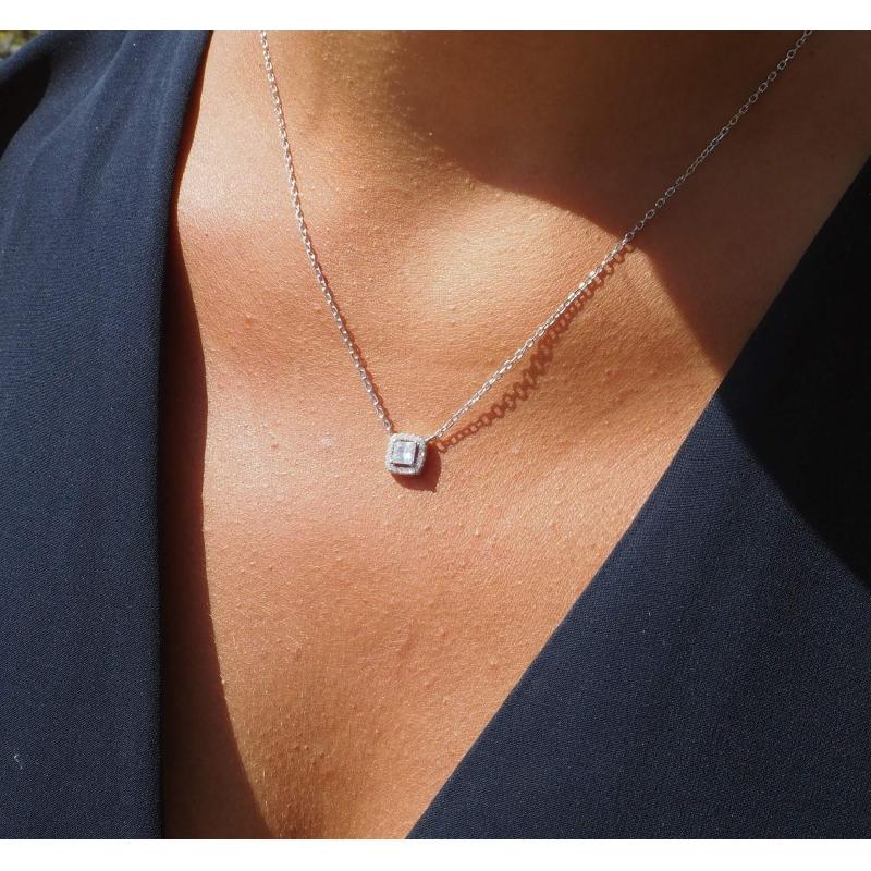 Classico square silver necklace - Pomme Cannelle