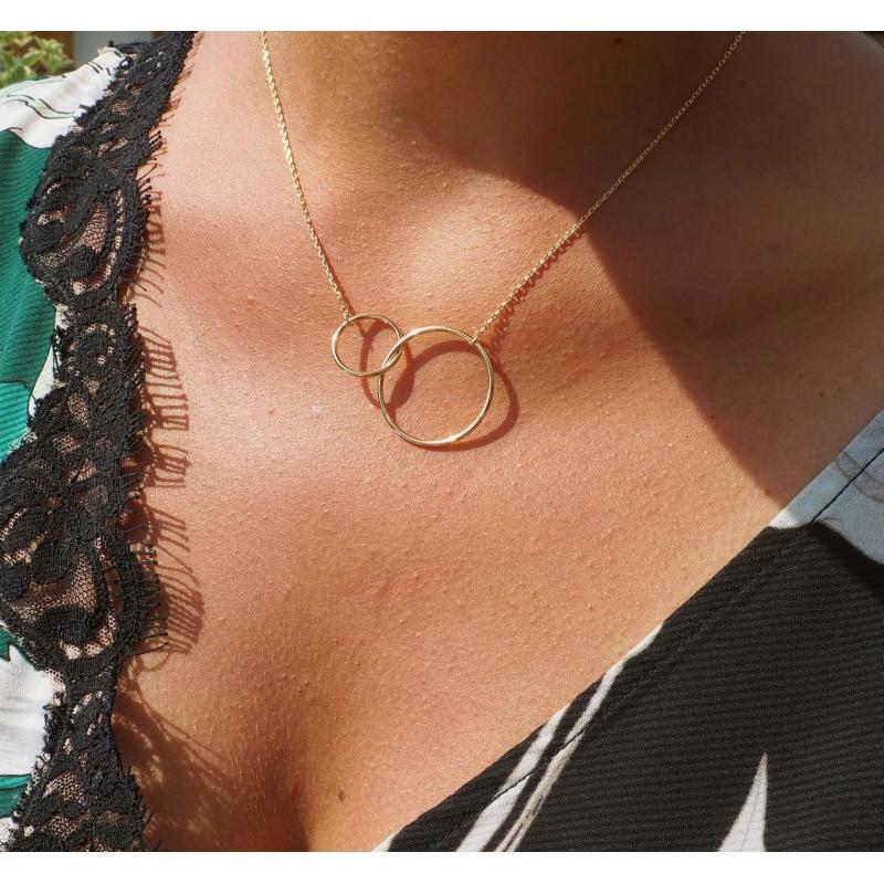 Doucle circle XL gold necklace - Pomme Cannelle