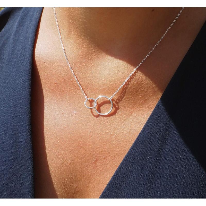 Doucle circle medium gold necklace - Pomme Cannelle