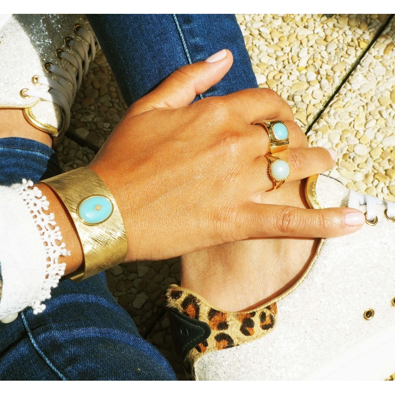 Gloria amazonite gold cuff bracelet - Zag Bijoux