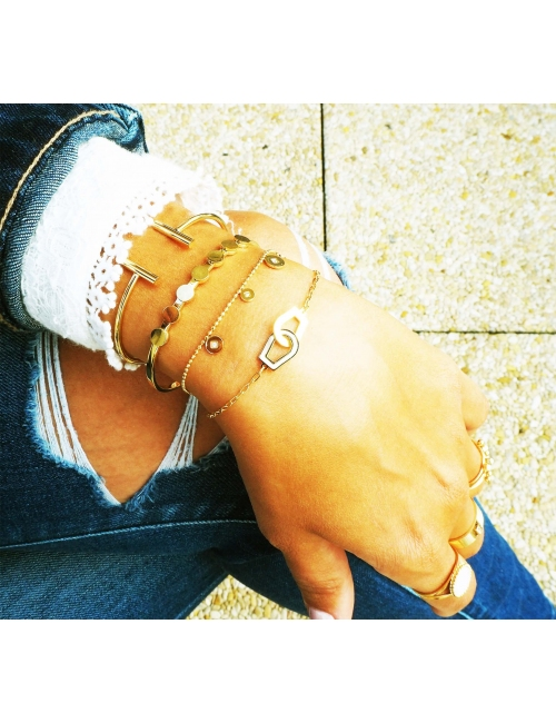Pearly handcuffs gold bracelet - Zag Bijoux