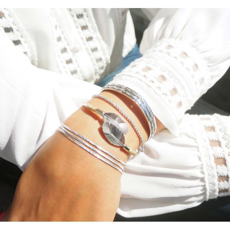 Torsade silver bracelet -...