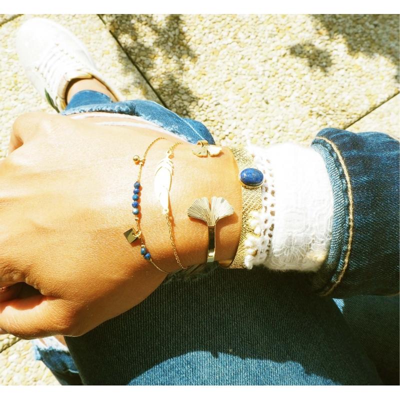 Ginkgo rose gold bangle - Zag bijoux