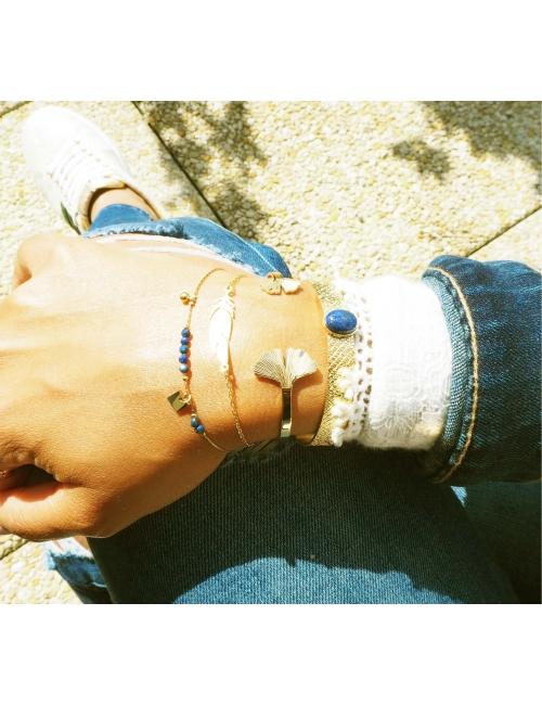 Feather silver bracelet - Zag Bijoux