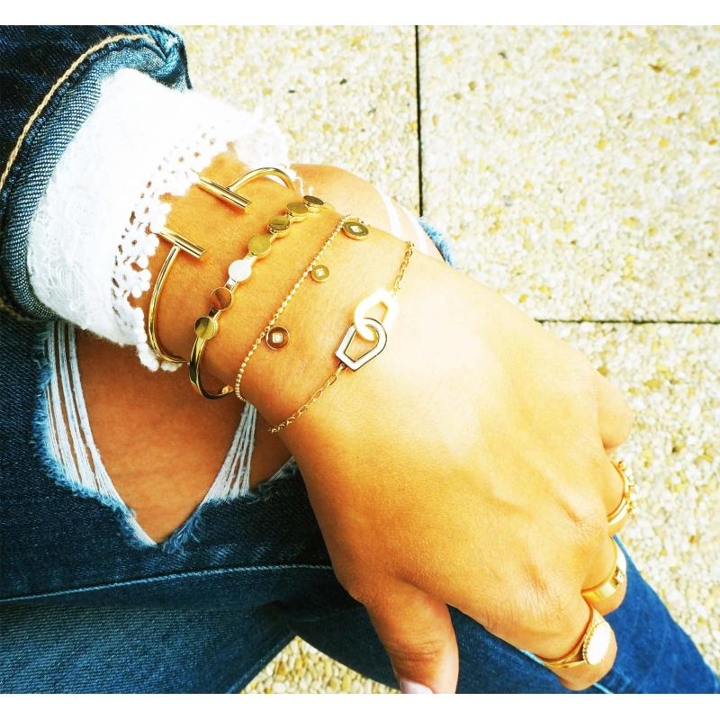"""T"" rose gold bangle - Zag Bijoux"