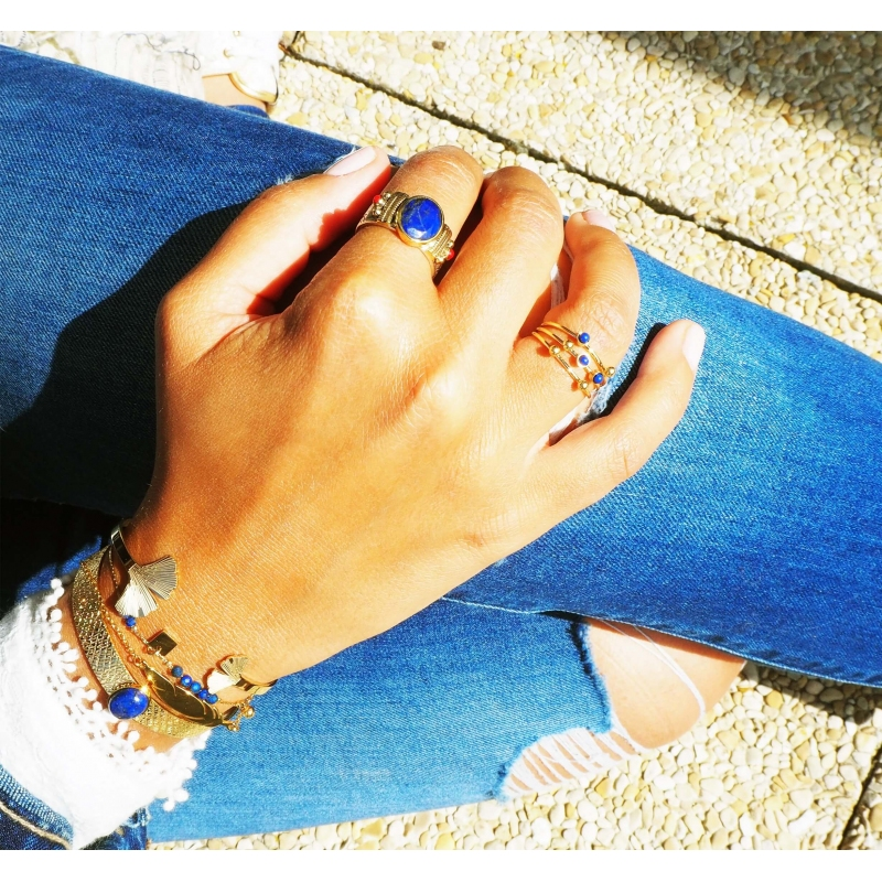 Bague stone agate blanche...
