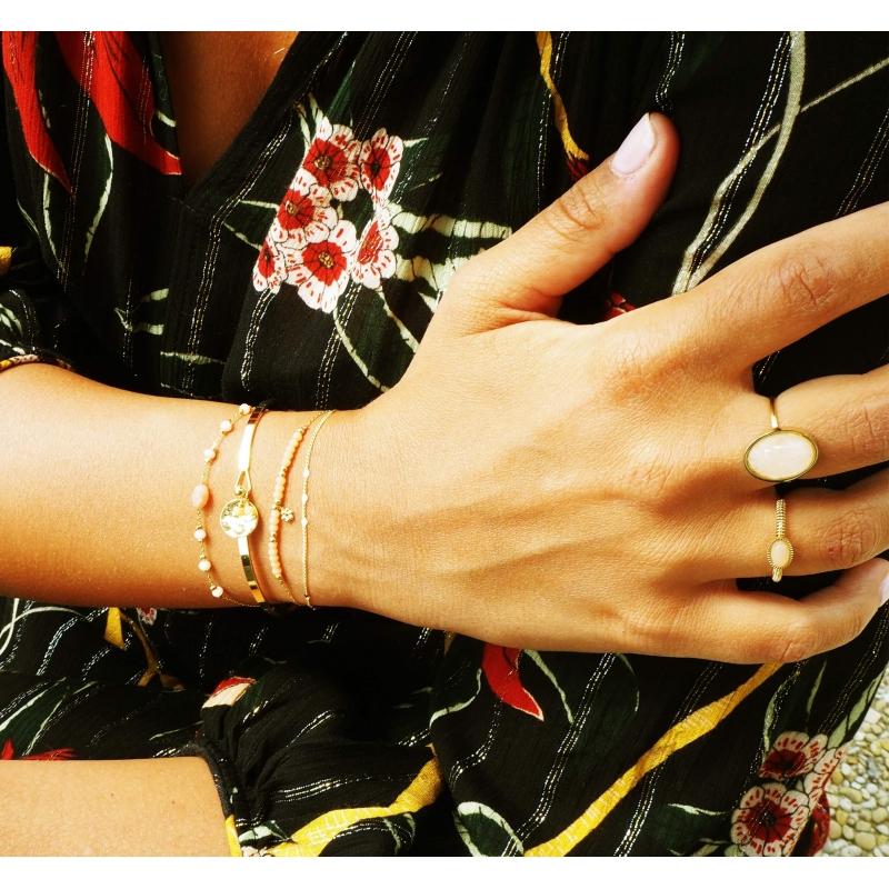 Rose quartz beetle cabochon gold ring - Zag Bijoux