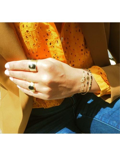 Bague jonc stone onyx en acier jaune - Zag Bijoux