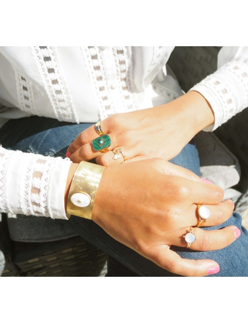 Compass mother of pearl gold ring - Zag Bijoux
