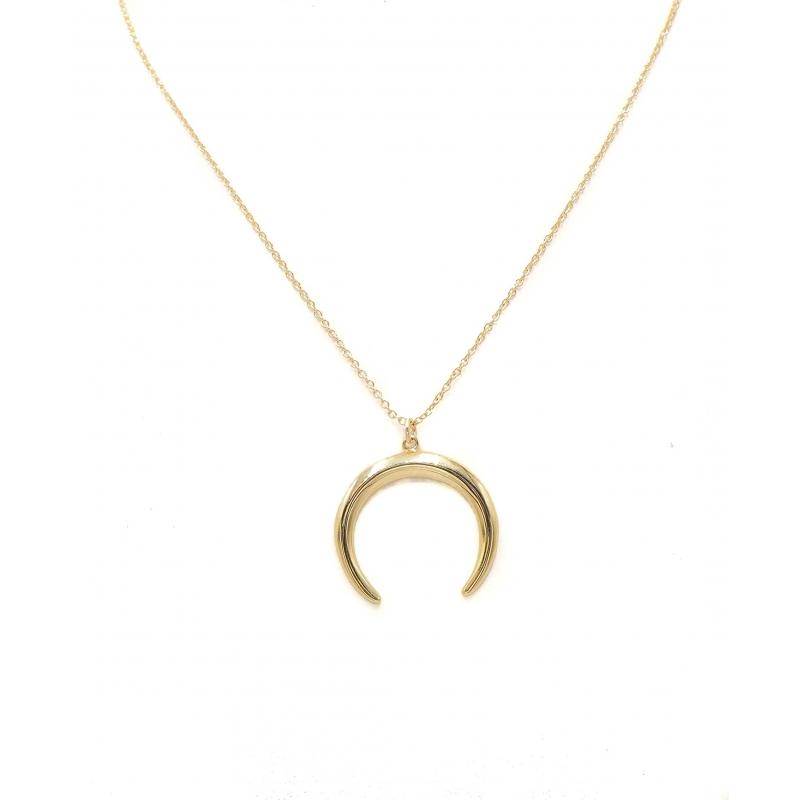 Large horn gold necklace -...