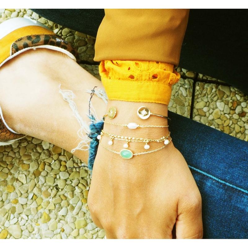Aventurine medal gold bracelet - Pomme Cannelle