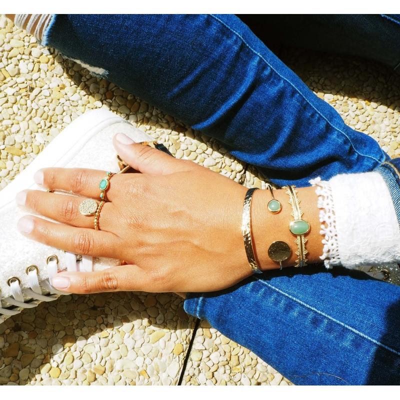 Hammered silver bangle bracelet - Pomme Cannelle
