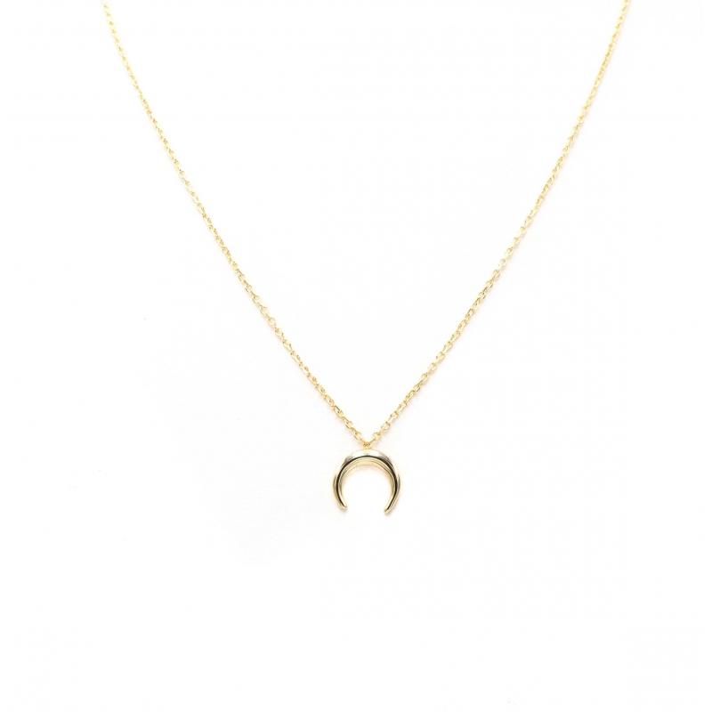 Collier corne petit modèle en plaqué or - Les créations de Lili