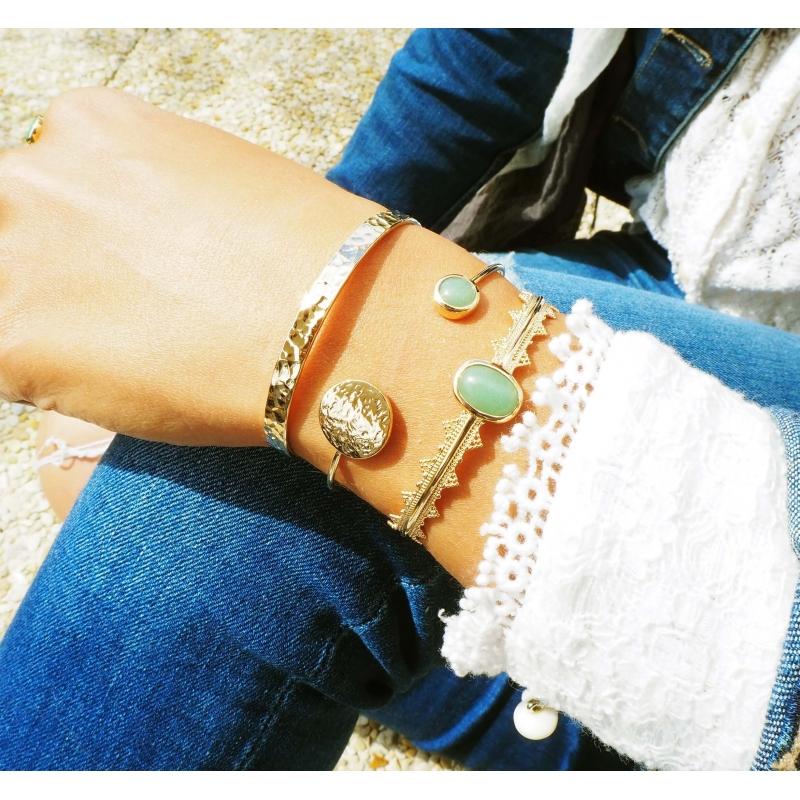Aventurine gold bangle bracelet - Pomme Cannelle