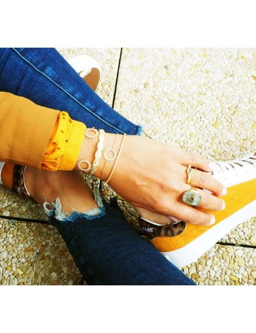 Bracelet jonc tresse en plaqué or - Pomme Cannelle