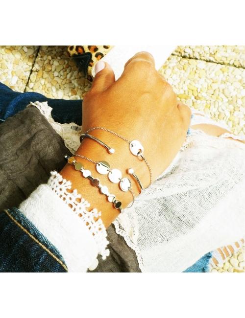 Brillant silver bangle bracelet - Pomme Cannelle