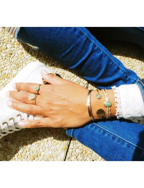 Hammered gold bangle bracelet - Pomme Cannelle