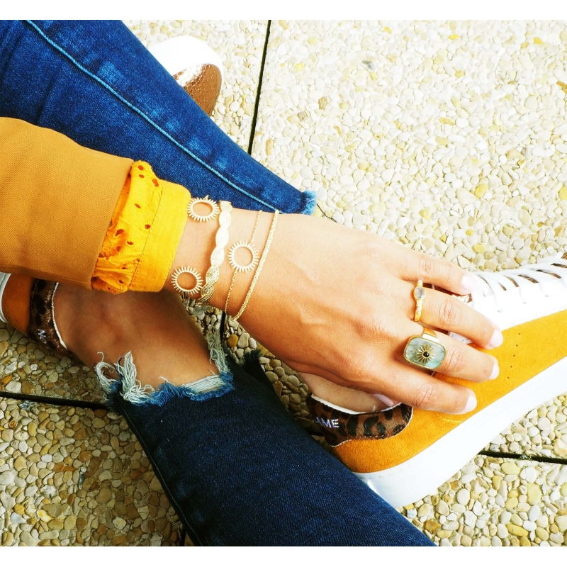 Bracelet jonc soleil en plaqué or - Pomme Cannelle