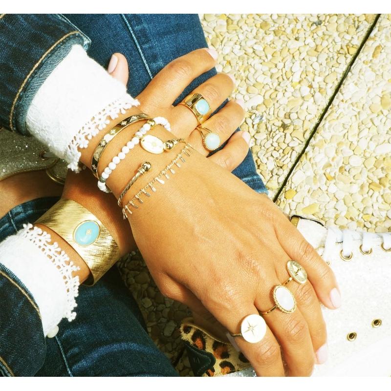 Bracelet jonc stars céleste en plaqué or - Pomme Cannelle