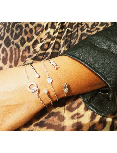 Laurels silver bangle bracelet - Pomme Cannelle