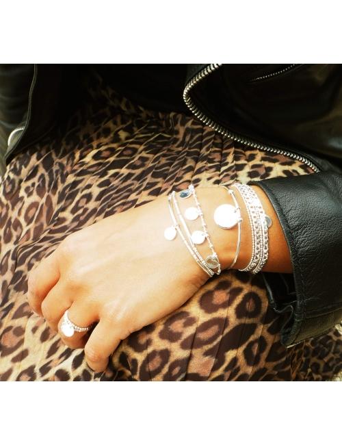 Bracelet jonc breloque en plaqué or - Pomme Cannelle