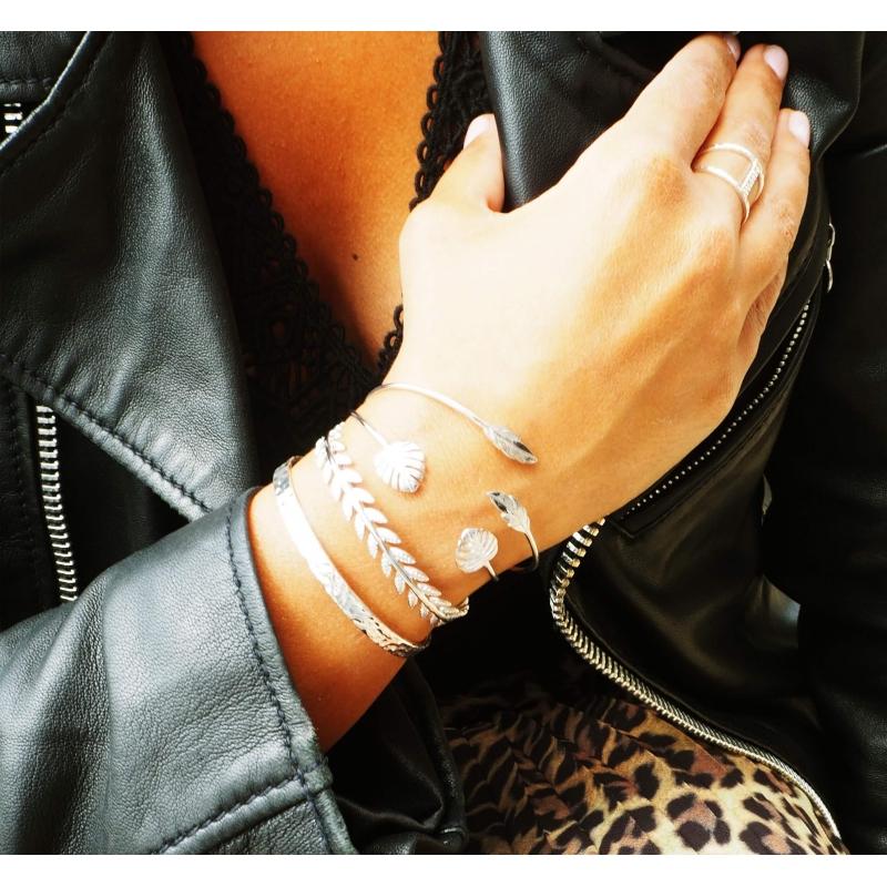 Bracelet jonc plumes duo en plaqué or - Pomme Cannelle