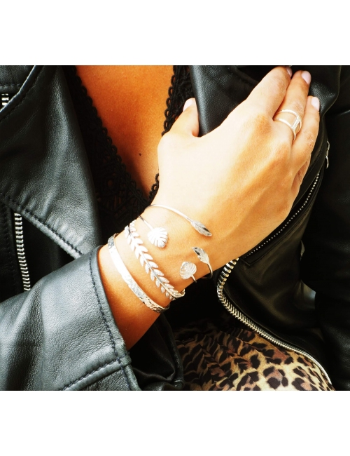Feather duo gold bangle bracelet - Pomme Cannelle