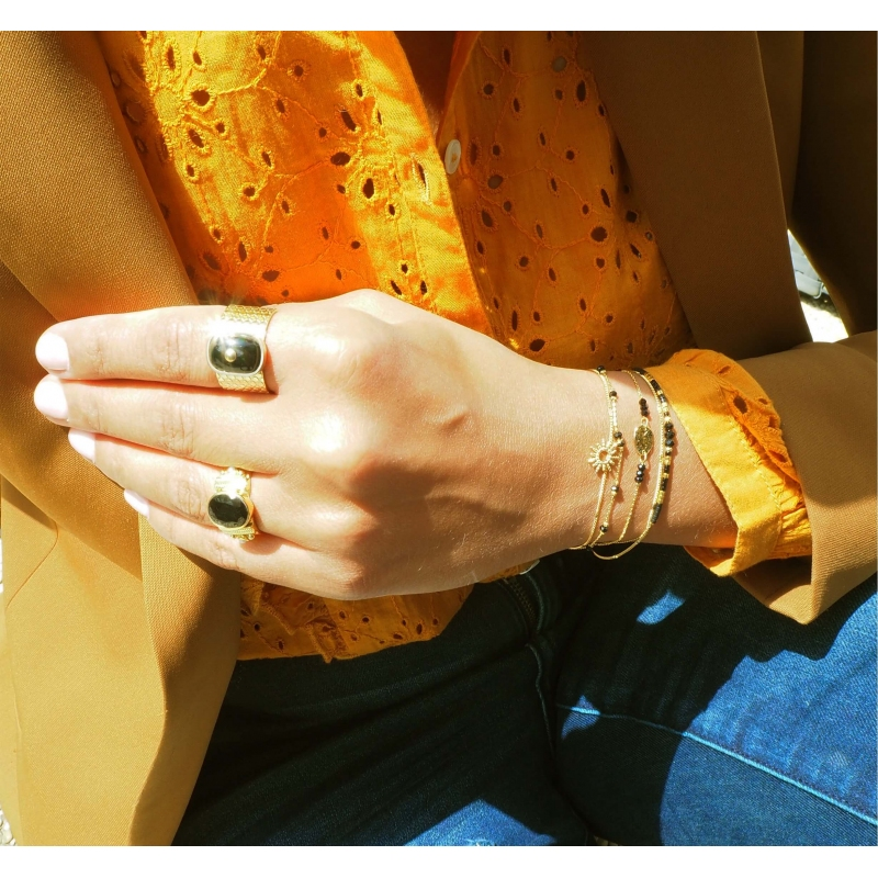 Ethnic chic onyx ring MM in gold plated - Canyon