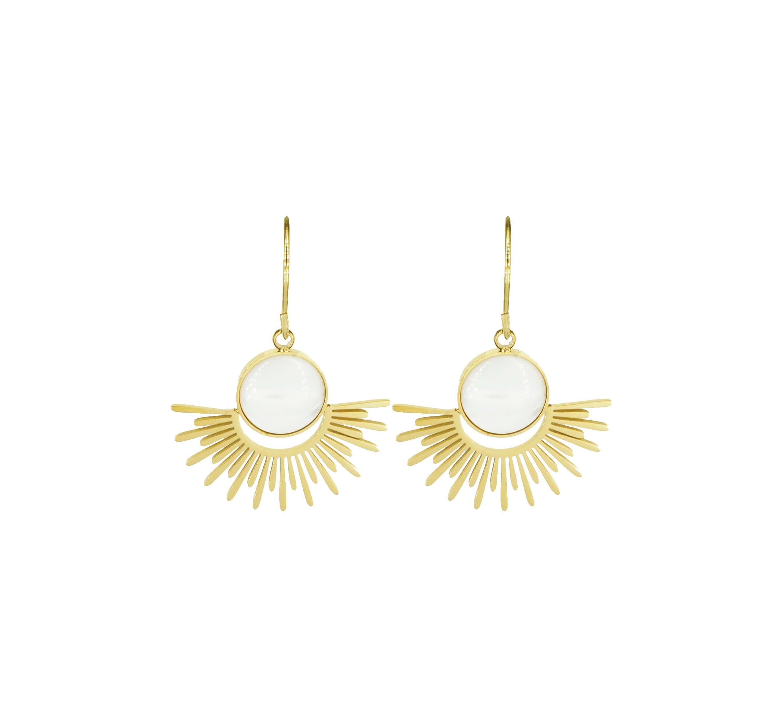 Boucles d'oreilles soleil nacre en acier jaune - Zag Bijoux