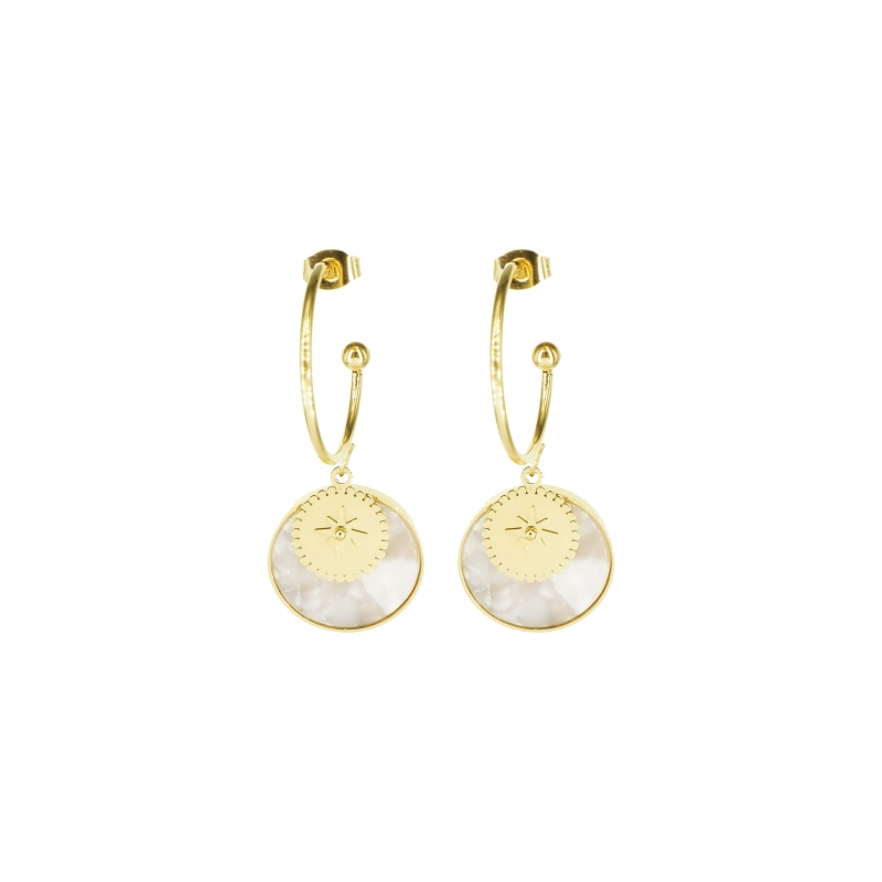 Gold marble mother-of-pearl hoop earrings - Zag Bijoux