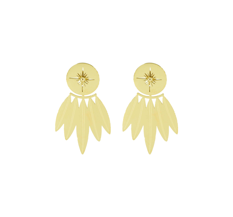 Boucles d'oreilles earcuff polar en acier jaune - Zag Bijoux