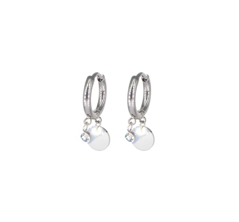 Boucles d'oreilles mini créoles pastilles en acier - Zag Bijoux