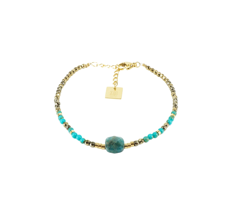 Bracelet stone carré apatite en acier or jaune - Zag Bijoux
